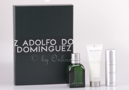 Adolfo Dominguez - Vetiver Set - 120ml EDT + 75ml AS + 50ml Deo Spray