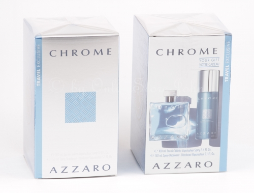 Azzaro - Chrome Travel-Set - 100ml EDT + 150ml Deodorant Spray